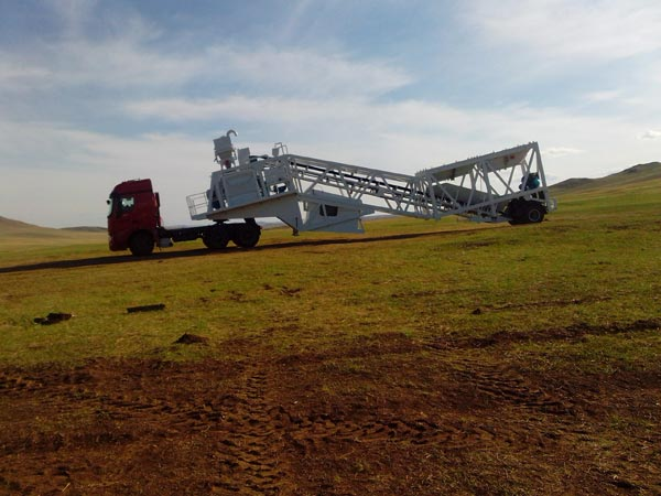 YHZS60 mobile batching plant in Mongolia